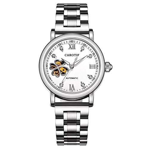 PLKNVT Neue Hochwertige Mode Frauen Mechanische Uhr Hohl Design Top Marke Voller Stahl wasserdichte Weibliche Automatische Uhr Montre FemmeSplitter-weiß weiß