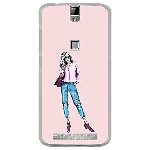 BJJ SHOP Transparent Hülle für [ Elephone P8000 ], Klar Flexible Silikonhülle, Design: Blondes Mädchen mit Glamour