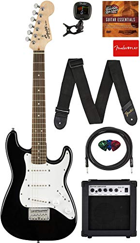 Fender Squier 3/4 Size Kids Mini Strat Electric Guitar Learn-to-Play Bundle w/ Amp, Cable, Tuner, Strap, Picks, Fender Play Online Lessons, and Austin Bazaar Instructional DVD - Black