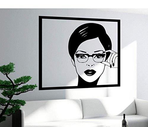 Vinilos Decorativos Mujer Adolescente En Gafas Dormitorio Pop Art 57X89Cm