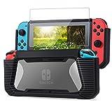 Tasikar Custodia Compatibile con Nintendo Switch Enhanced Grip Gommata Cover di Protettiva con Pellicola Protettiva in Vetro Temperato (Nero - Trasparente)