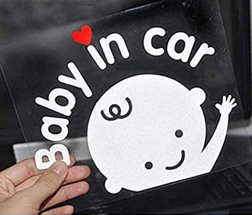 Baby in Car Waving Sticker Baby on Board Sign for Car,Kids in car Decal Sticker Safety Sign Cute Car Decal Vinyl Car Sticker (2X Boy Sticker)