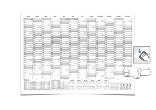 WANDKALENDER/JAHRESPLANER - 2020 - MIT FERIEN DIN B1 GRAU 100 X 70 CM 250G/M² ABWISCHBAR GEROLLT