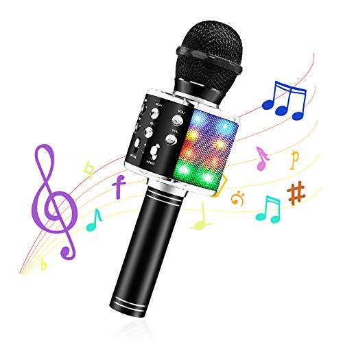 MOOKLIN ROAM Microphone Karaoke Sans Fil, Micro 4 en 1 Karaoké Bluetooth Portable, LED Home Party Haut-parleur pour Enfants/Adultes Chanter, Compatible avec Android/IOS/PC/Smartphone (Noir)