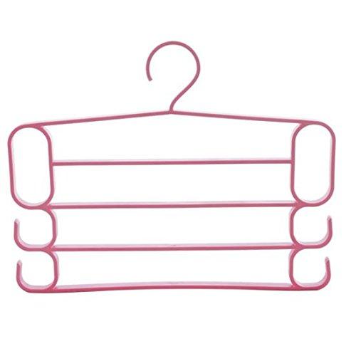 WEIAIXX Multi-Tier Galán Planchador Pantalones De Plástico Colgando Perchero Pantalones Para Admitir Una Estantería Armario Home Pantalones Rosa 1 Racks De 4 Capas