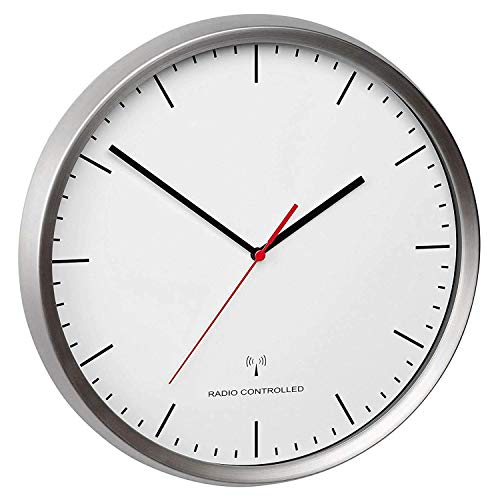 TFA Dostmann Analoge Funk-Wanduhr, 60.3521.02, Rahmen aus Edelstahl, leises Uhrwerk, höchste Genauigkeit, silber