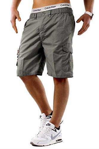 EGOMAXX Herren Bermuda Cargo Shorts Kurze Capri Sommer Hose Freizeit Basic, Farben:Grau, Größe Shorts:M