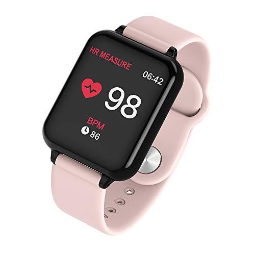 Sanbee Pulsera Inteligente Bluetooth, Reloj Inteligente Deportivo IP68 Impermeable con Pantalla Grande de 1.3in IPS Color Dinámica, Rastredor de Fitness, Smartband Mujer Hombre (Rosa)