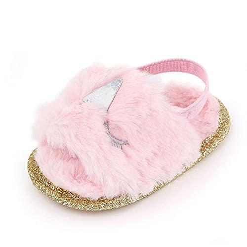 COQUI Zapatillas de casapara,0-1 años de Edad Baby Film Sandals Indoor Soft Full Zapatos peatonales Zapatos de bebé-Rosa_11cm