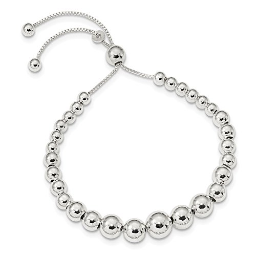 925 Sterling Silver Graduated Beads Adjustable Bracelet 8.5 Inch Stretch Wrap Bead Beadsed Fine Jewelry For Women Gifts For Her