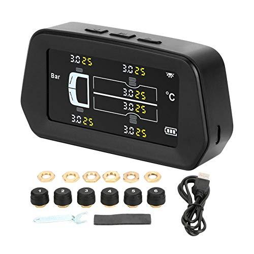 Sue-Supply Reifendruckkontrollsystem Motorrad LKW Sensor Solar Power Auto Security Reifendruckregelung, IPX7 wasserdicht, ungefähr 0-116 PSI, kann 6 Reifen tragen, Solar/USB Aufladung