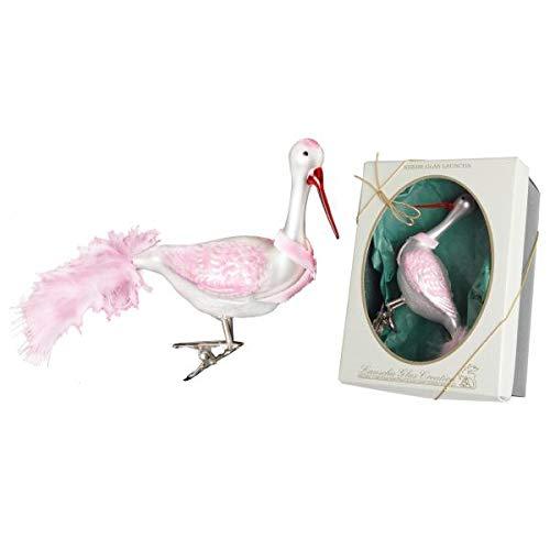 Krebs Glas Lauscha Storch rosa/weiß mit Blauer Schleife auf Clip, mundgeblasen, handdekoriert mit echten Federn 10 cm