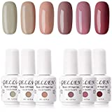 Gellen Gel Nail Polish Kit- Popular Nudes Palette Pastel Neutral 6 Colors, Trendy Warm Earthy Tones Nail Art Gel Polish Home Gel Manicure Set