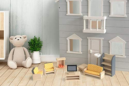 london-kate Living Room DOLLHOUSE FURNITURE SET, 9-piece Dollhouse accessories including TV and TV stand, book shelf, chair, couch, fireplace, and lamp