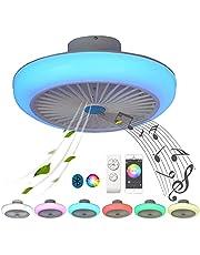 Plat ventilator plafond met licht plafondlamp RGB kleurverandering Bluetooth luidspreker dimbaar afstandsbediening plafondventilator met verlichting lamp ultra stille plafondlamp muziek LED APP controleerbaar