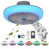 Ventilador Color Air, Plafon LED Ventilador Techo con Luz Pequeno Bluetooth Altavoz Música RGB Ventilador de Techo con Lampara Mando a Distancia Silencioso Regulable Decorativo Sala Dormitorio