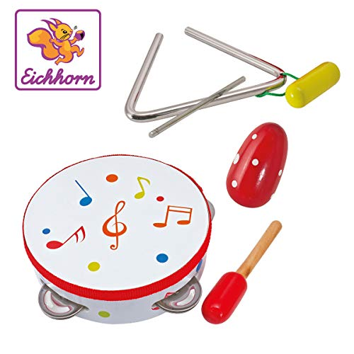 Eichhorn 100003408 - Musik Set enthält Trommel, Triangel, Maraca-Ei, aus Eichenholz