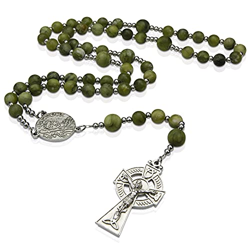 St Patrick Green Jade Rosary, Irish Rosary with Stainless Steel Celtic Cross and Medal