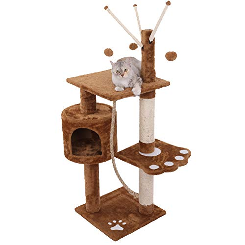 SPLLEADER Pet Deluxe Cat Tree, Post Climbing Tower Play Frame, Condo Cats Hammock Perches Platform -for Adult Cats Activity Centre Cat Climbing Frame,Brown