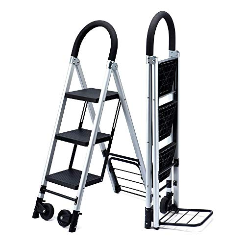 Delxo Folding 3 Step Ladder with Rolling Wheels - 2 in 1 Convertible, 3-Feet Portable Lightweight Aluminum Step Stool with Soft Handgrip & Anti-Slip Wide Pedals, Foldable Metal Hand Truck Dolly Cart