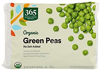 365 by Whole Foods Market, Frozen Organic Vegetables, Green Peas - No Salt Added, 16 Ounce