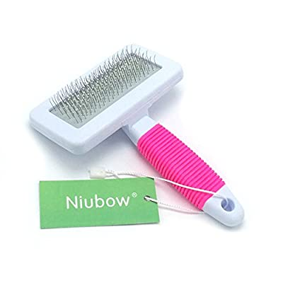 Niubow Professional Quality Pet Slicker Brush with Coated Pin Tips for Dogs & Cats - Gently Removes Mats & Loose Dead Hair Easily (Small, Pink) by Niubow