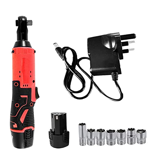 Lomelomme Ratchet Wrench Kit 3/8' Cordless Electric Ratchet Wrench Set, Impact Wrench 12V Electric Cordless Ratchet Wrench Tool Set with 1 Lithium-Ion Battery and 1 Charger