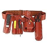 Cinturón de herramientas de piel, 5 en 1, multifuncional, ideal para andamios, accesorio de trabajo para colocar martillo de llave de palanca, etc.