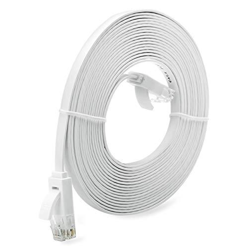 Totkakka Universal 1/3/5/10 M Cable de red RJ45 súper largo Cable de red Ethernet de tipo plano de súper alta velocidad Cable Ethernet LAN - Blanco 10 M