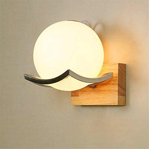 WEXLX Appliques en bois simple lampe murale pour Salon de diamètre15cm hauteur13.5cm