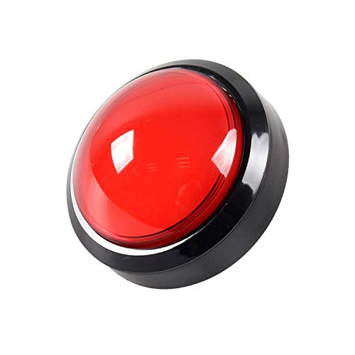 EG STARTS Arcade Buttons 100mm Big Dome Convex Type LED Lit Illuminated Push Button for Arcade Machine Video Games Parts & Red DC 12V