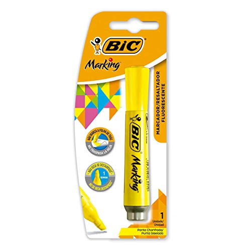Marcador de Texto Fluorescente BIC Marking, Ponta Chanfrada, 1.5 - 5.5mm, Amarelo, 904196, 1 Unidade