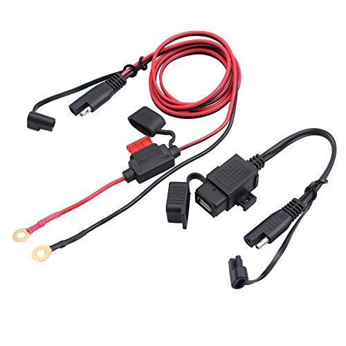 CAMWAY Caricabatterie USB per Moto, Adattatore Cavo Caricatore GPS per Telefono da 12V con Interfaccia SAE a USB per Moto Impermeabile, per telefoni, cellulari, GPS o Videocamere Sportive