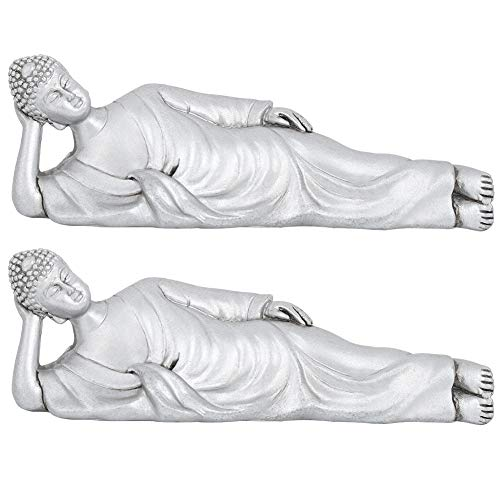 2Pcs Reclining Buddha Statue, Lay Thinking Buddha Ornaments Beautiful Resin Ornament Household Decoration Home Office Decor, Sliver 6.4 x 2.2 Inches
