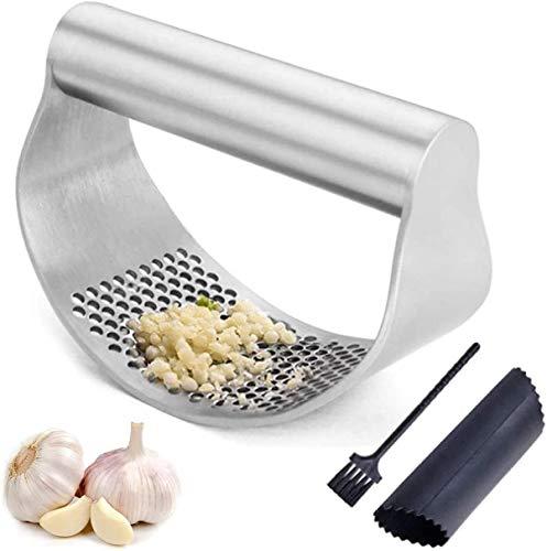 Garlic Crusher Garlic Press Food Grade Stainless Steel,Garlic Peeler Garlic Cleaner Brush