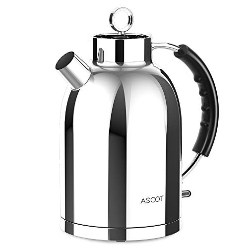 Ascot 100% Stainless Steel Tea, 1.6L 1500W Cordless Electric Water Kettle Fast Heating, Food-Grade Material, Boil, K14 Clear