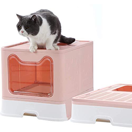 猫トイレ 猫 ネコ トイレ 大型 猫 システムトイレ 猫のトイレ 猫用トイレ本体 砂が飛び散らない 臭わない スコップ付き 清潔しやすい 2ドア式 漏れ砂穴設計 上から出る 引き出し式 折りたたみ式 組立しやすい 可愛い猫顔ドア 51*41*38cm 取扱
