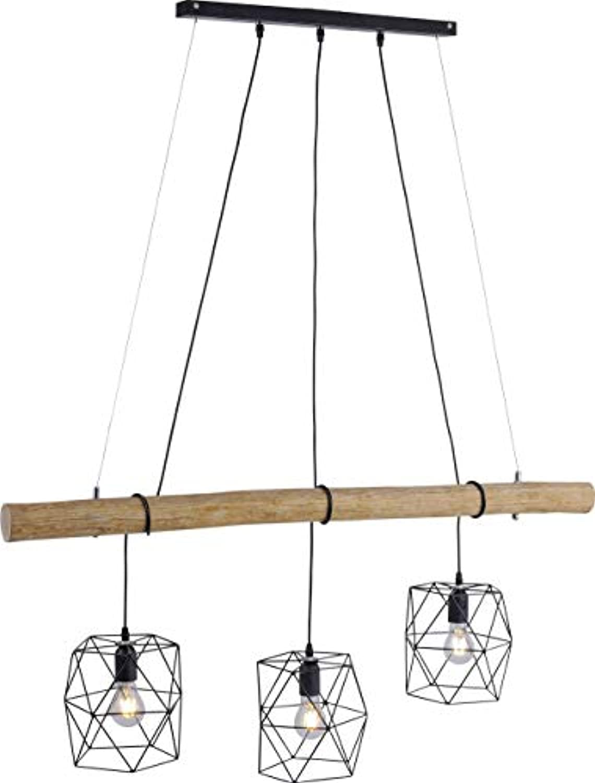 LED Pendelleuchte E27 180W LeuchtenDirekt Edgar 15503-18 Holz schwarz
