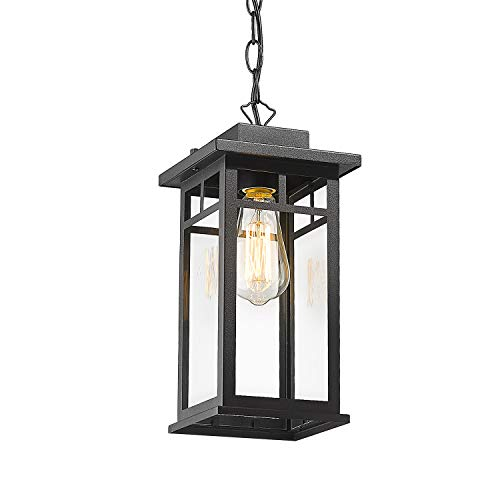 CALDION Outdoor Pendant Light Fixture, 1-Light Porch Hanging Lantern Lights in Balck Finish with Clear Glass Shade, Outdoor Ceiling Light Hanging for Patio Entryway, 2486-1H