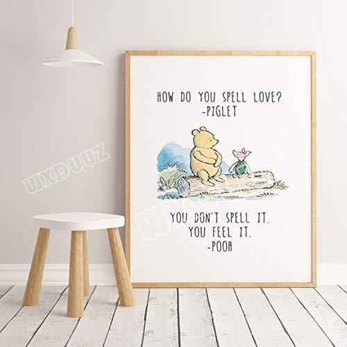 Winnie The Pooh Aquarell Poster Druck Kinderzimmer Dekoration Cartoon Art Decor Wohnkultur Wandkunst Leinwand Gemälde 50×70Cm No Frame