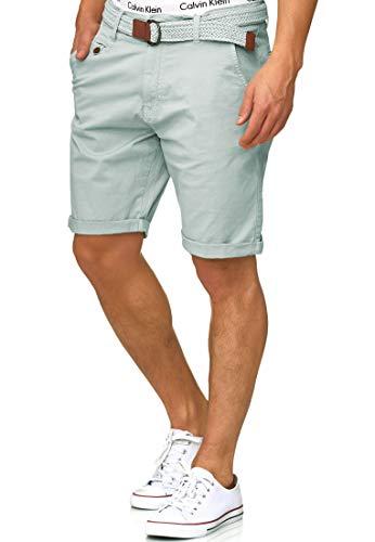 Indicode Herren Kidd Chino Shorts mit 5 Taschen inkl. Gürtel aus 98{617c2043d410802eba9392b5afc4339f72b6677ecce9f1dd71c62ff9330b105b} Baumwolle | Kurze Hose Regular Fit Bermuda Stretch Herrenshorts Short Men Pants Sommerhose kurz für Männer in Surf Spray M