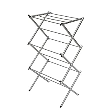 StorageManiac 3-tier Folding Anti-Rust Compact Steel Clothes Drying Rack - 22.44 x14.57 x41.34