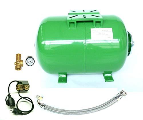 Set aus 100 Liter Druckkessel, Membrankessel für Hauswasserwerk + Druckschalter + Manometer, 5 Wege Ventil u. Panzerschlauch 80cm. Max. Druck 10 bar.