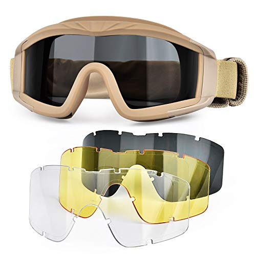 BOLLFO Airsoft Goggles Tactical Safety Goggles Anti Fog ,3 Interchangeable Lens …