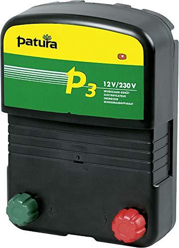 Patura Weidezaungerät P 3-12 Volt/230 Volt - Pferde, Rinder, Schafe, mittlere Zaunlängen - inkl. 230 Volt Netzteil und Akkuanschlusskabel - mit Tiefentladeschutz