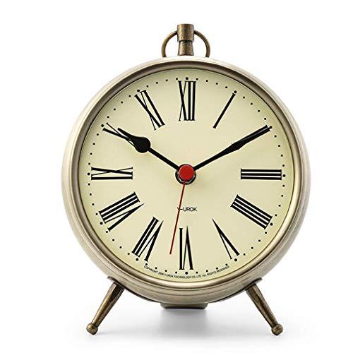 YEESEU Reloj de Mesa Familia Relojes de Metal de Silencio de la Sala Dormitorio Mesita de luz Retro Reloj Adecuado for salón Dormitorio Oficina (Color, Rojo), Bronce