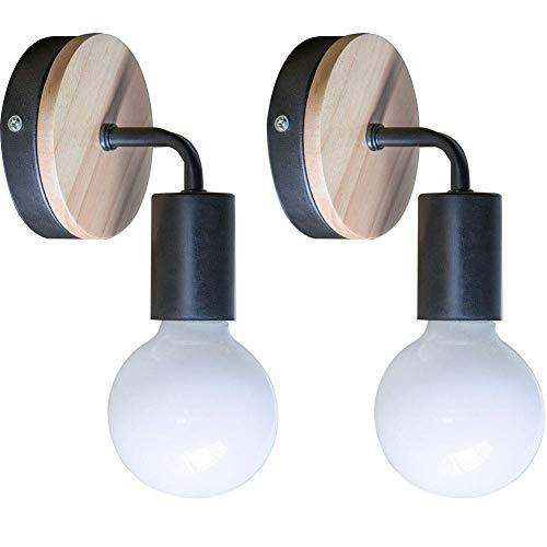 YUENSLIGHTING 2 Piezas Loft negro lámpara de pared Simplicidad E27 LED de hierro y placa de madera lámparas de pared para los niños Dormitorio Dormitorio Hotel Bar (sin bulbo)