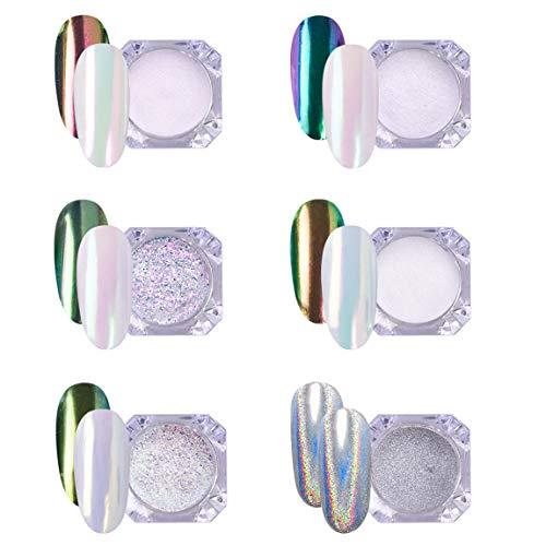 AIMEILI 6 Jars Polvere Specchio Unghie Polvere Effetto Unghie Iridescente Aurora Cristallo Chrome Holographic Pigmento Glitter Neon Chameleon Kit di Decorazione Nail Powder