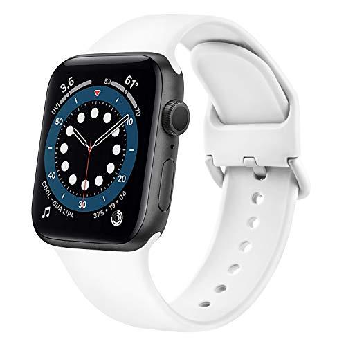 Demark Kompatibel mit Apple Watch Armband 38mm 42mm 40mm 44mm, Weiche Silikon Ersatz Armband Kompatibel mit iWatch Series SE, 6, 5, 4, 3, 2, 1 (Weiß, 38mm/40mm-S/M)