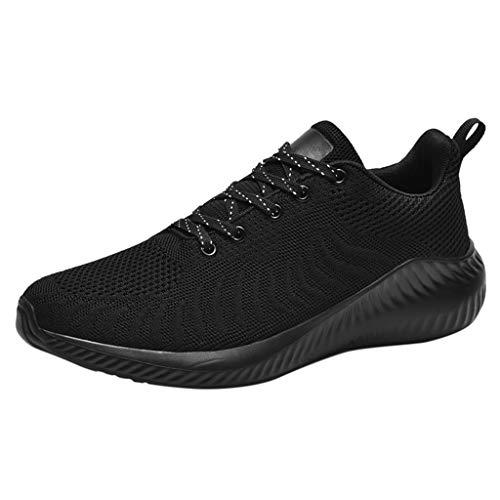 Chaussures de Sport Running Hommes Baskets Respirantes Tissé Mouche Lace-up Sport Shoes Occasionnels Outdoor Running Fitness Gym Shoes (42 EU, Noir)
